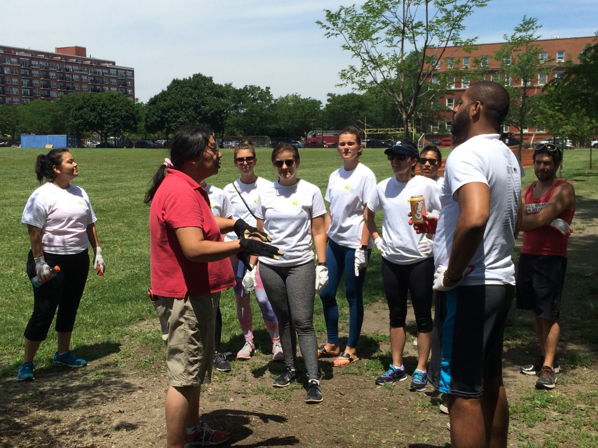 "May Toy, NOWL Green Space & Parks Committee Chair and President of the Skinner Park Advisory Council, coordinated clean-up efforts at Skinner Park for the city's ""It's Your Park Day"" on Saturday, June 18."